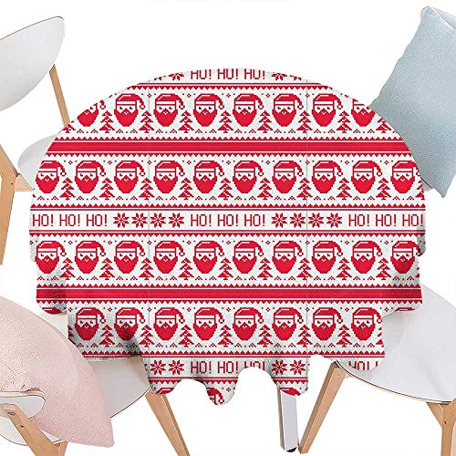 cobeDecor Nordic Stain Resistant Wrinkle Round Tablecloth Ho Ho Ho Christmas Illustration with Santa with Full Beard Cross Stitch Pattern Round Wrinkle Resistant Tablecloth D60 Scarlet ()
