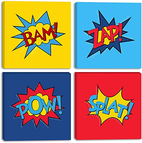 Bam Superhero Words Canvas Wall Art Funny Word Posters Colorful Kids Room Paintings 4 Panels Wall Decor