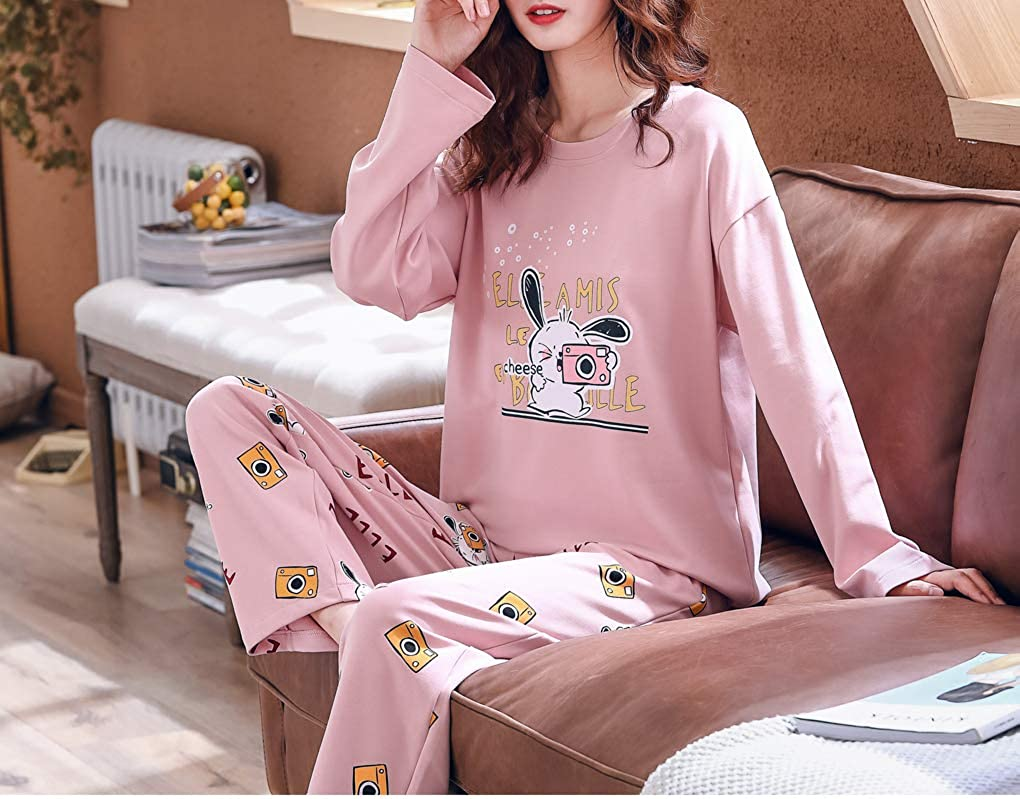 Vopmocld Big Girls Funny Pajama Sets Winter Long Sleeve Sleepwear Cute Rabbits Loungewear