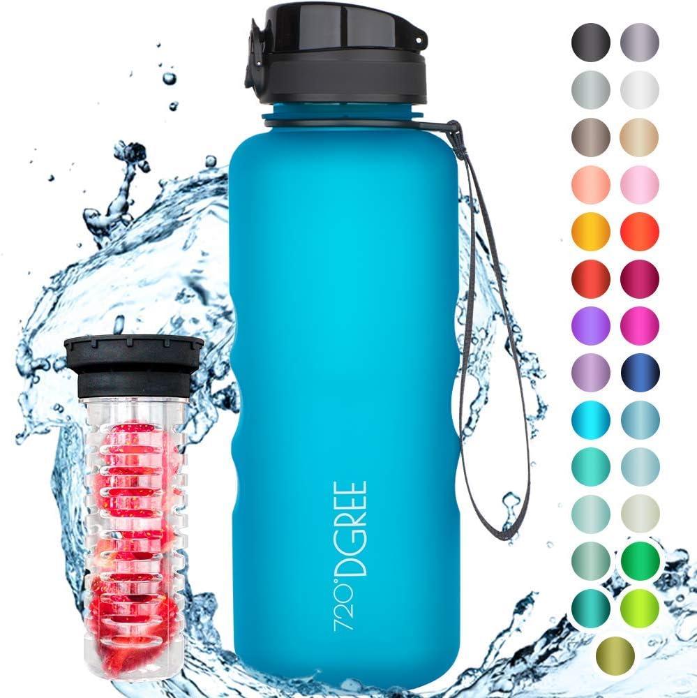 """720°DGREE Botella de Agua """"uberBottle"""" – 1500ml   Impermeable y Reutilizable   para Beber Ideal para niños, Deporte, Escuela   Sin BPA   con Inserto de Fruta"""