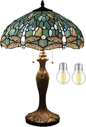 Tiffany Lamp W16H24 Inch Tall LED Bulb Included Sea Blue Stained Glass Table Lamp Crystal Bead Dragonfly Style Shade S147 WERFACTORY Lover Friend Living Room Bedroom Coffee Bar Desk Beside Lamp Gifts