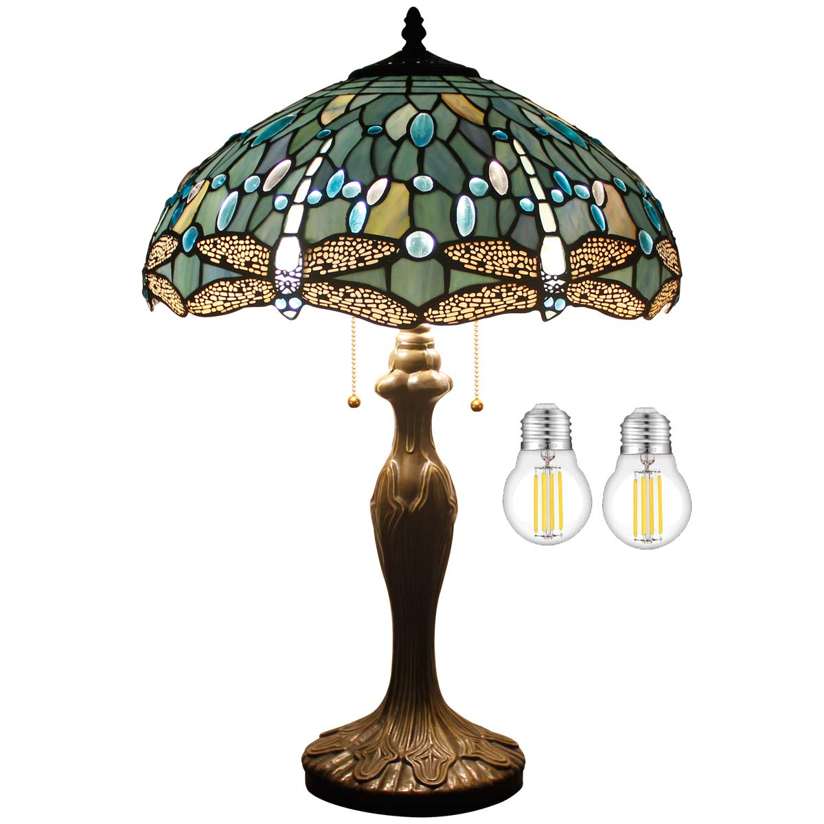 Tiffany Lamp W16H24 Inch Tall(LED Bulb Included) Sea Blue Stained Glass Table Lamp Crystal Bead Dragonfly Style Shade S147 WERFACTORY Lover Friend Living Room Bedroom Coffee Bar Desk Beside Lamp Gifts