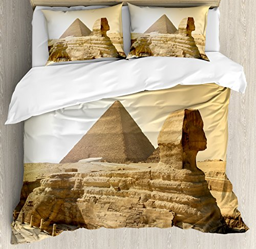 Ambesonne Ancient Decor Duvet Cover Set, Egyptian Pyramids Famous Great Landmark Wonders Of The World Heritage View Theme Picture, A Decorative 3 Piece Bedding Set Pillow Shams, Queen/Full, Sand Brown