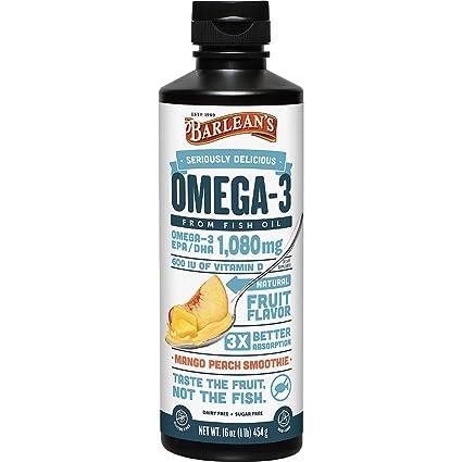 Omega remolino, aceite de pescado con suplemento de vitamina D, Mango Melocotón - Barlean