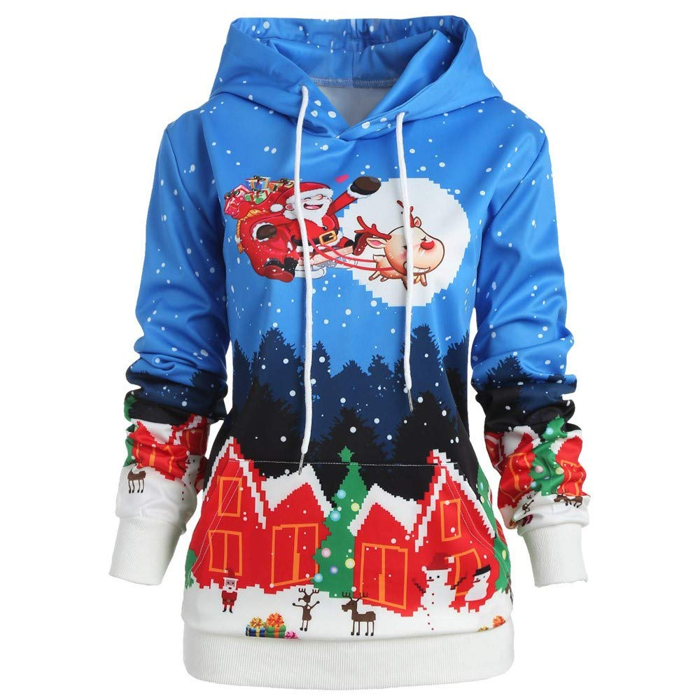 Gorday Women Hoodies Sweatshirt Sale Santa Claus Elk Print Hooded Pullover Fashion Casual Christmas Blouse Tops