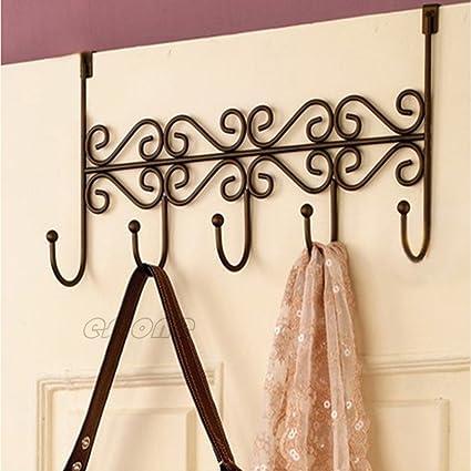 Hat Clothes Coat Towel Bag Over Door Bathroom 5 Hooks Hanger Hanging Rack Holder