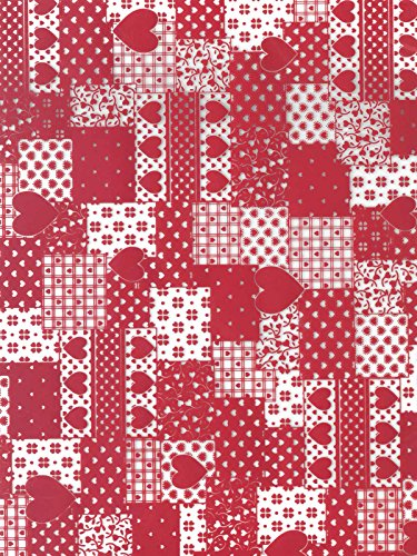 Heart Patchwork Red Cocoa Butter Chocolate Transfer Sheet by GSA
