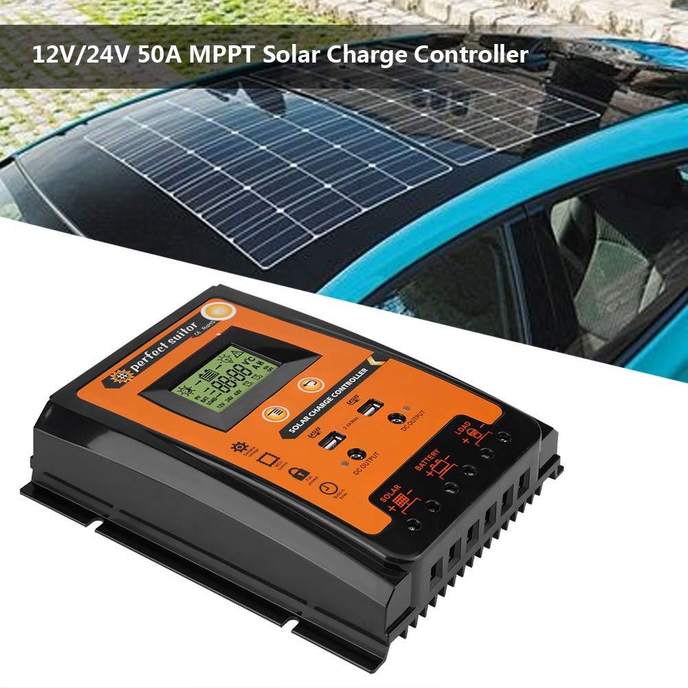 70A Keenso Contr/ôleur de Charge de Panneau Solaire MPPT Intelligent avec Ecran LCD R/égulateur Batterie Affichage avec Double USB R/égulateur de Charge Solaire