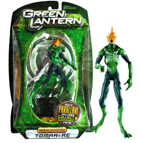 "Mattel Year 2010 DC Movie Masters Series ""Green Lantern"" 6 Inch Tall Action Figure : TOMAR-RE with Display Stand and Build ""Parallax"" Collect and Connect Piece"