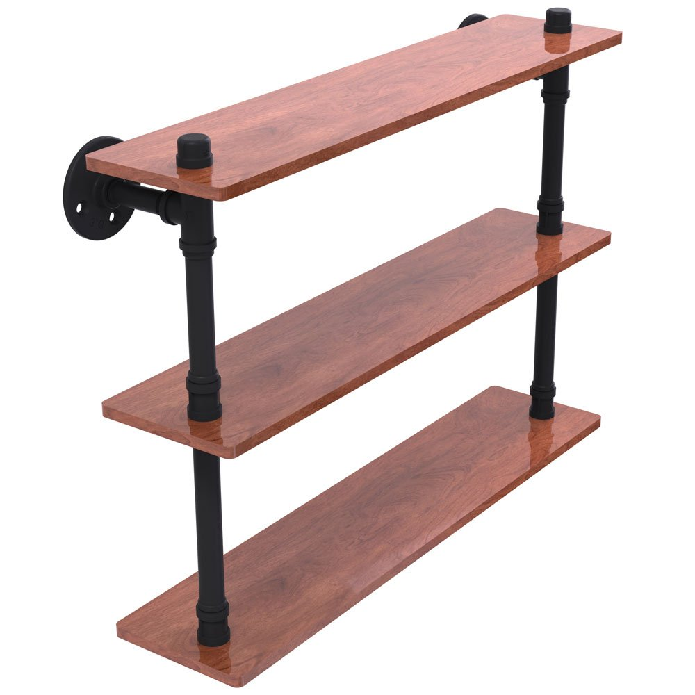 SKB family 22 Inch Pipeline 3-Tier Bathroom Shelf, 22'' x 16.9'' x 5.6'' x 13.5 lbs, Matte Black