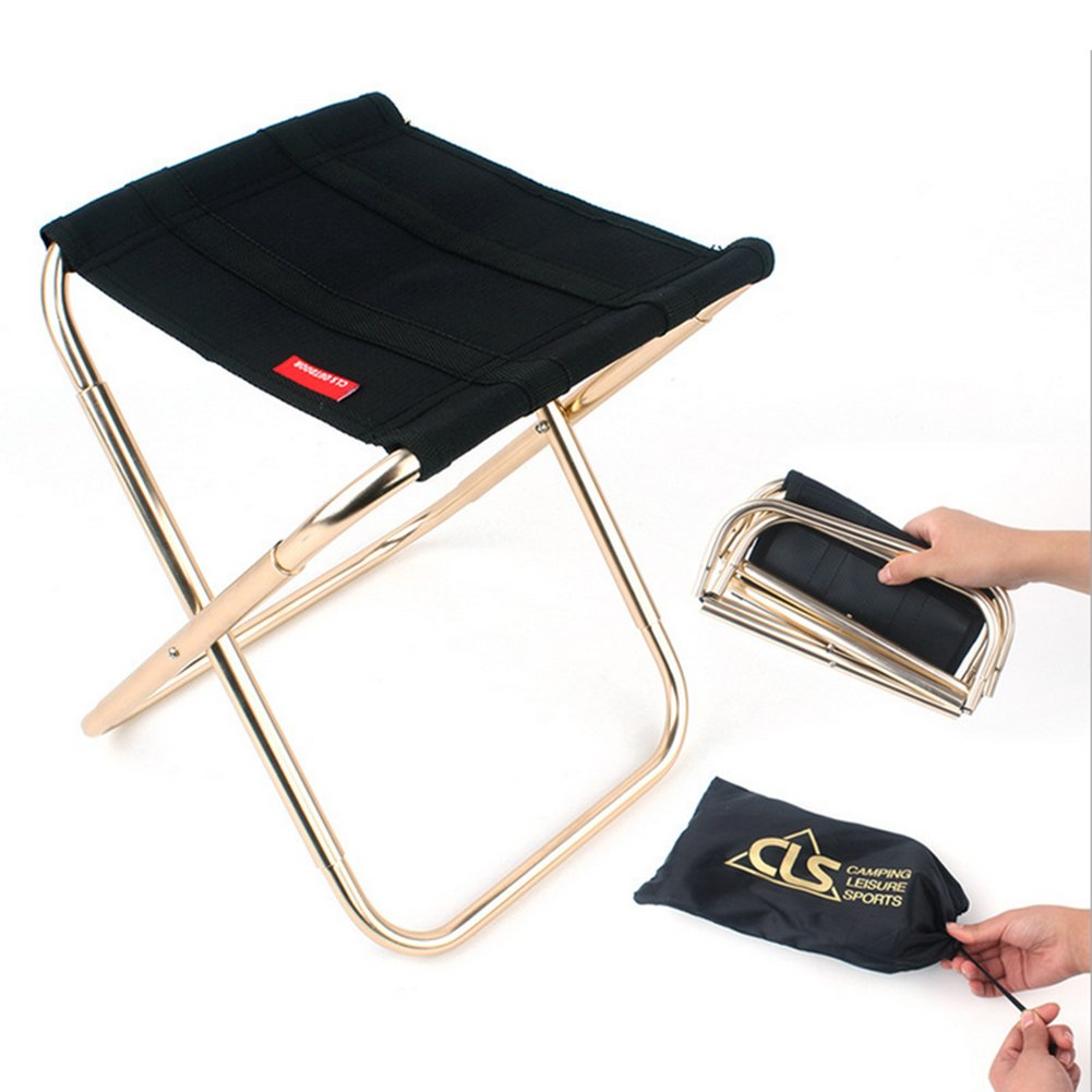 Folding Portable Camping Stool,Outdoor Lightweight Chair For BBQ Camping Fishing Travel Hiking Garden Beach Oxford Cloth With Carry Bag Aluminium