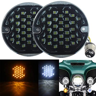 "ZYTC 3 1/4"" LED Turn Signals Flat PC Lens Style Front 1157 LED Turn Signal Kit For Harley Davidson(Not Need Extra Lens): Automotive"