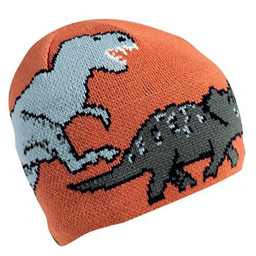 [Turtle Fur Kids Boys Jurassic, Fleece Lined Knit Dinosaur Beanie, Paprika] (Dinosaur Hats)
