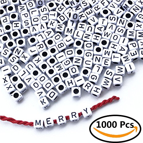 Letter Beads, ABUFF 1000 Pcs Acrylic Cube Beads, White Alphabet Beads with Black Letters Fit jewelry making, Bracelets, Necklaces, Key Chains, Kids Jewelry and Kids Education, Square
