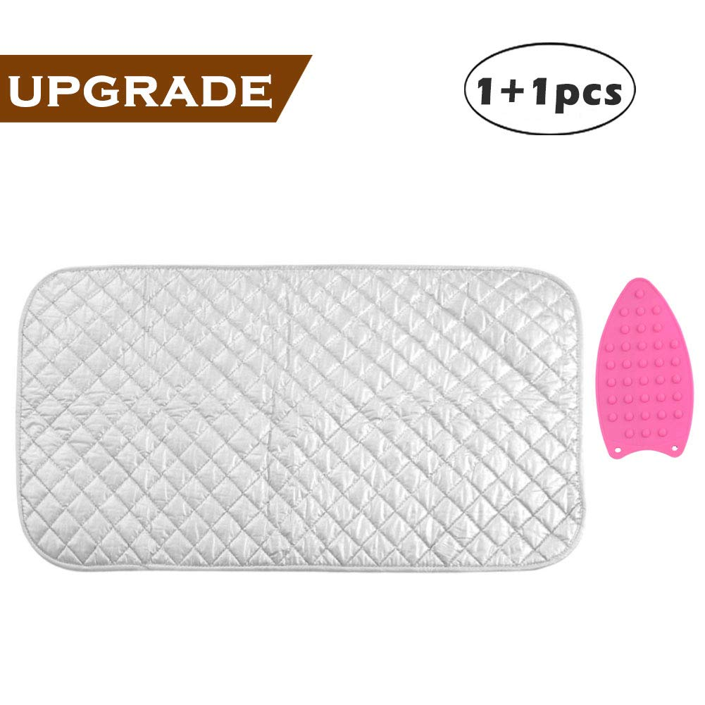 Ironing Mat, Portable Travel Ironing Blanket, Thickened Heat Resistant Ironing Pad Cover for Washer, Dryer, Table Top, Countertop, Small Ironing Board, Gift Silicone Iron Rest Pad (19×33 inches)