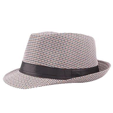 a50d464702eb6 Turkey Unisex Fedora Trilby Hat Gangster Cap Summer Beach Sun Straw Hat  Black Band Panama Jazz Caps (Coffee)  Amazon.co.uk  Clothing