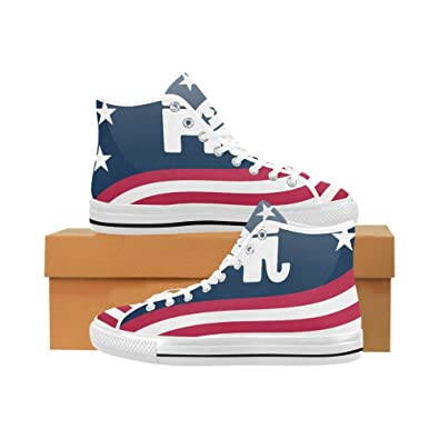 c6f5932f0a16 INTERESTPRINT Fashion Sneaker Republican Logo with Waving American Flag  Vancouver Men s High-Tops Canvas Shoes