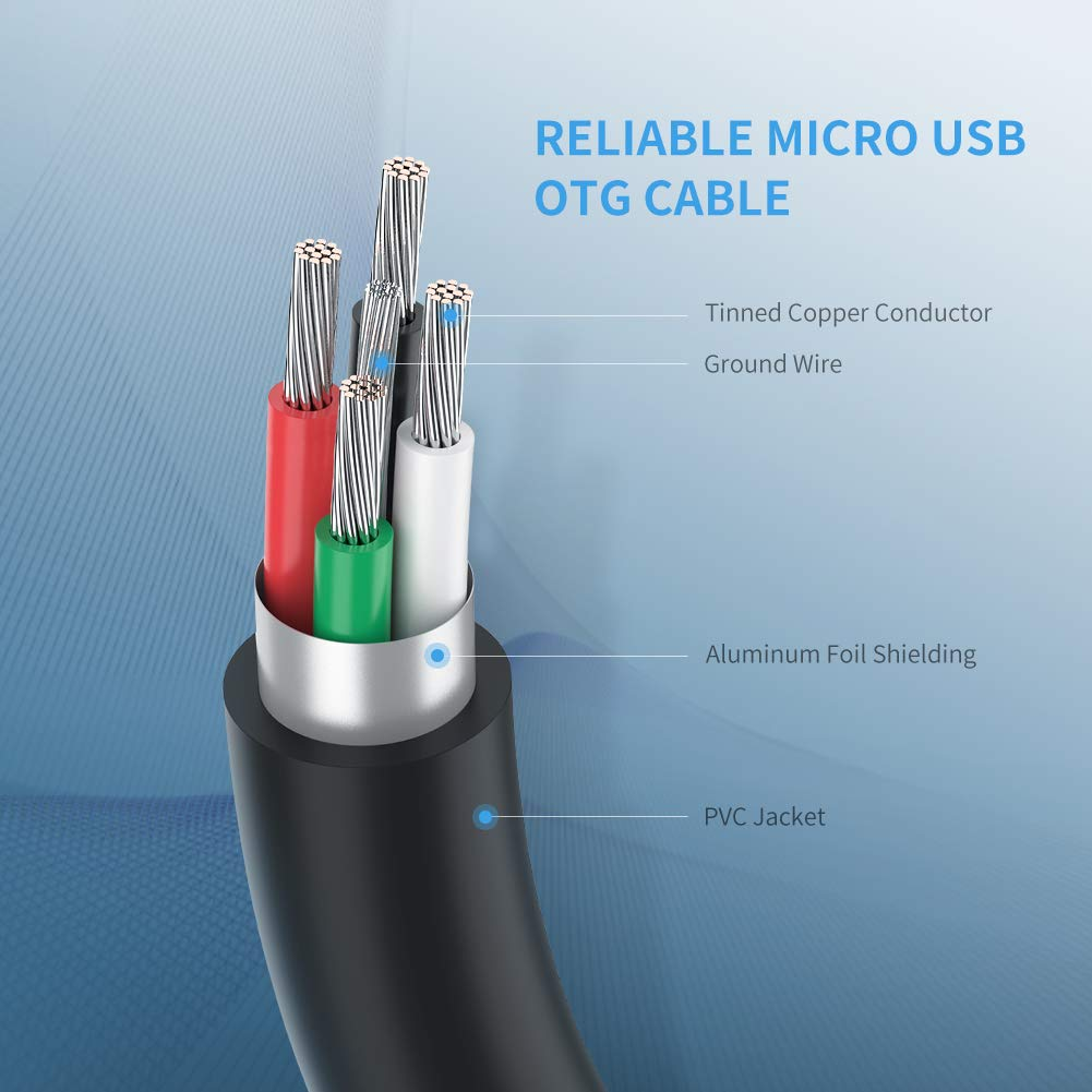 UGREEN Micro USB 2.0 OTG Cable On The Go Adapter Male Micro USB to Female USB for Samsung S7 S6 Edge S4 S3 Black Dji Spark Mavic Remote Controller Android Windows Smartphone Tablets 4 Inch LG G4