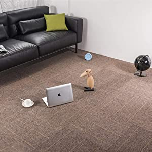 Commercial Office Premium Carpet Tiles Rug for Bedrooms Rug Living Room Kids Rooms Office Decor with Non-Slip Asphalt Bottom Backing 20x20inch Brown-Stripe 32 Tiles