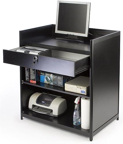 Displays2go caja registradora cajón de bloqueo con soporte y estante de almacenamiento, empotrable, parte superior, 36
