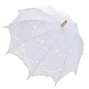 muitobom Vintage bordado de boda encaje paraguas blanco sombrilla de hecho a mano
