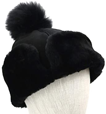UGG Women s Up Flap Water Resistant Sheepskin Hat Black One Size at ... 934342cdd41