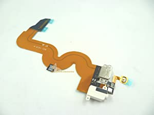 White Color Headphone Audio Jack Headset Socket Bottom Lighting USB Data/Charging Dock Port Connector Home Button Key Flex Ribbon Cable for iPod Touch 5th Gen 32gb 64gb