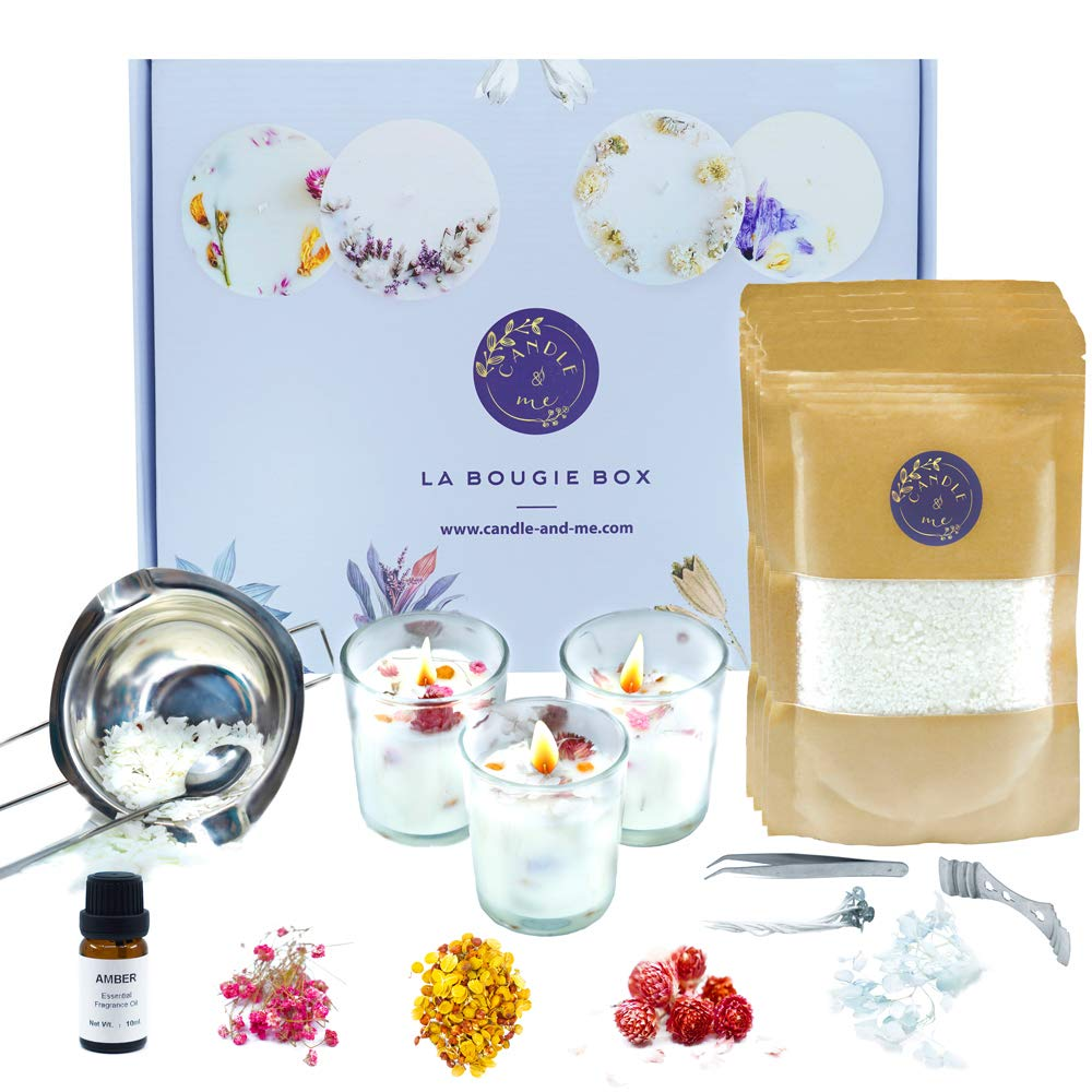 Soy Candle Making Kit - with dried flowers - Starter beginners set to create 6 scented and decorated candles with complete and easy guide by Candle&Me - DIY Craft gift or New Hobby for adults and kids