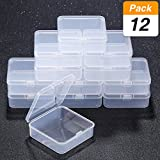 SATINIOR 12 Pack Small Rectangle Clear Plastic Containers Box with Hinged Lid Bead Storage Box Case (2.9 x 2.9 x 1 Inch)