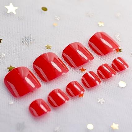 EchiQ - Clavos falsos para dedos de pies, color caramelo, color rojo, para