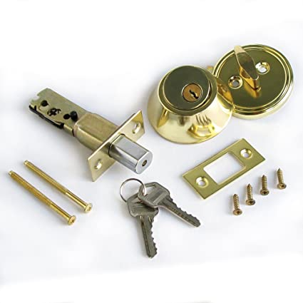 Single Cylinder Deadbolt Lock Security Home Entry Handle Door Lock Set w/ Keys Gold Color
