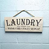 "Artblox Rustic Laundry Room Wall Decor Sign ""The Never Ending Cycle"" Quotes Real Thick Barn Wood Vintage Farmhouse Decorations Wood Art Prints Plaque 7""x18 For Sale"