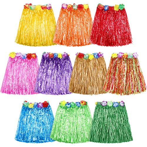 Hula Dancers - 10 Pieces Elastic Hawaiian Hula Dancer Grass Skirt Grass Hibiscus Flowers Birthday Tropical Party Decorations Favors Supplies
