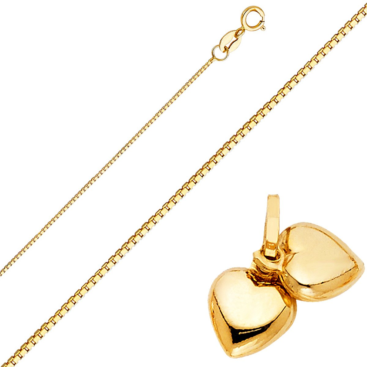 Solid 14K Gold Box Chain Double Heart Pendant Necklace//Box Chain Heart//Heart Pendant