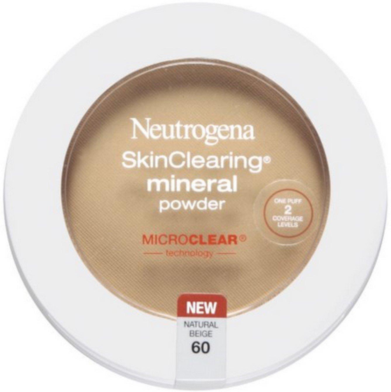 Neutrogena Skinclearing Mineral Powder, Natural Beige 60.38 Oz, (Pack of 2)