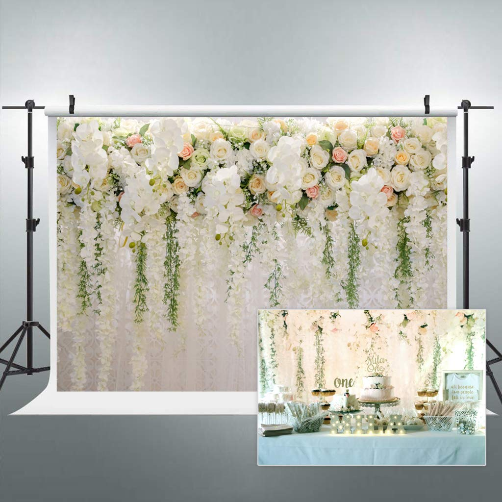 Riyidecor Bridal Floral Wall Backdrop Wedding Rose 8x6 Feet Reception Ceremony Photography Background Photo Birthday Party Dessert Table Photo Shoot Backdrop Vinyl Cloth