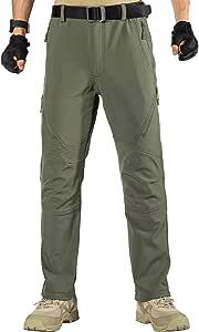 FREE SOLDIER Pantalones de Trabajo Softshell para Hombre Pantalones Trekking Termico Pantalones Montaña Impermeable Pantalones de Snowboard de Invierno Pantalones de Caza