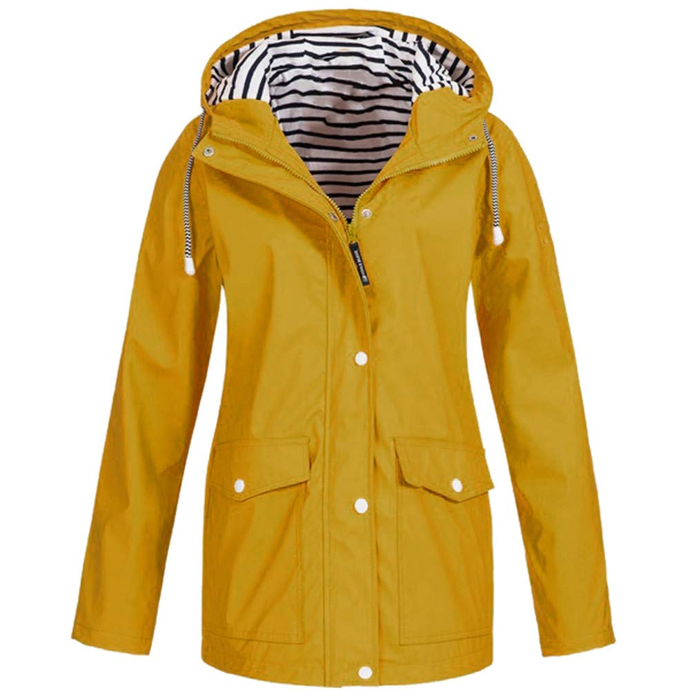 Shusuen Women's Waterproof Raincoat Hooded Rain Jacket Windbreaker Outdoor Trench Coats Yellow by Shusuen_Clothes