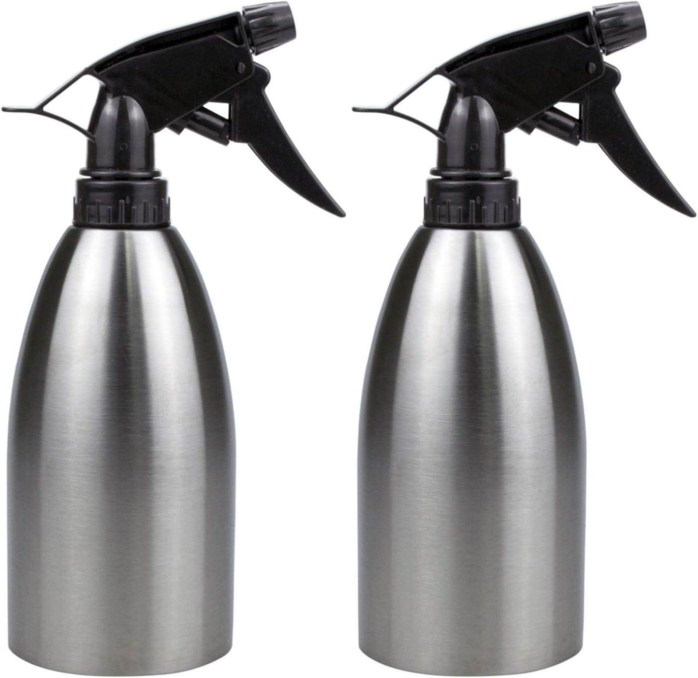Yesland 2 Pack Stainless Spray Bottle, 17 Oz Vinegar Sprayer Dispenser/Portable Washing Liquid Seasoning Water Sprayer for BBQ, Cooking, Frying and Grilling