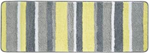 """mDesign Soft Microfiber Polyester Non-Slip Extra-Long Spa Mat/Runner, Plush Water Absorbent Accent Rug for Bathroom Vanity, Bathtub/Shower, Machine Washable - Striped Design, 60"""" x 21"""" - Gray/Yellow"""