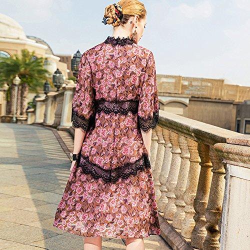 Cotylédons Women`s Robes De Dentelle Cou Col À Manches Courtes Haute Robe Patchwork De Taille Pour Les Occasions Formelles