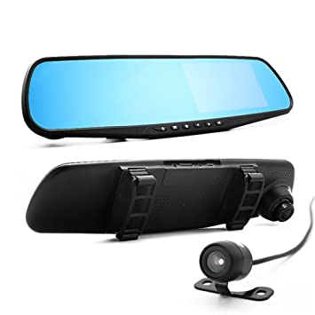 "Vale® 4.3 ""Cámara Dash HD 1080P con doble objetivo Espejo retrovisor de coche"