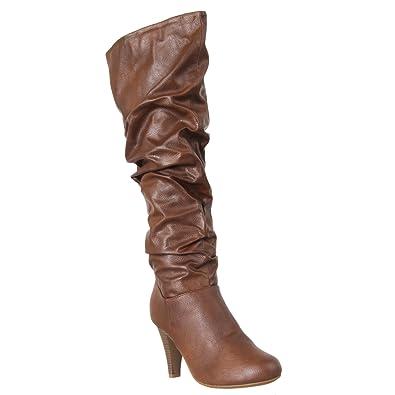 Amazon.com: Bambú para mujer Valencia tacón alto botas de ...