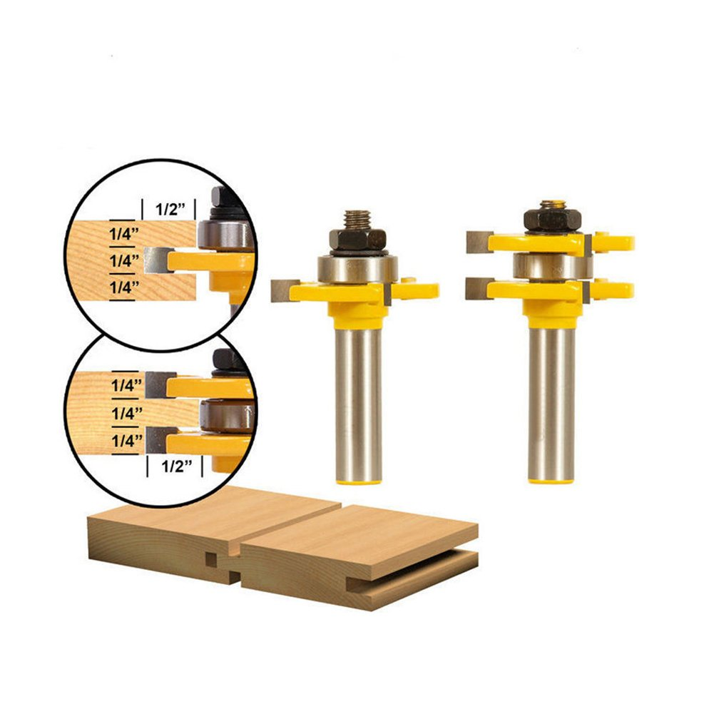 Tongue and Groove Set, Router Bits, RFWIN 1/2 Inch Shank T Shape Wood Milling Cutter Woodworking Tool, Adjustable Wood Door Flooring 3 Teeth (2Pcs)