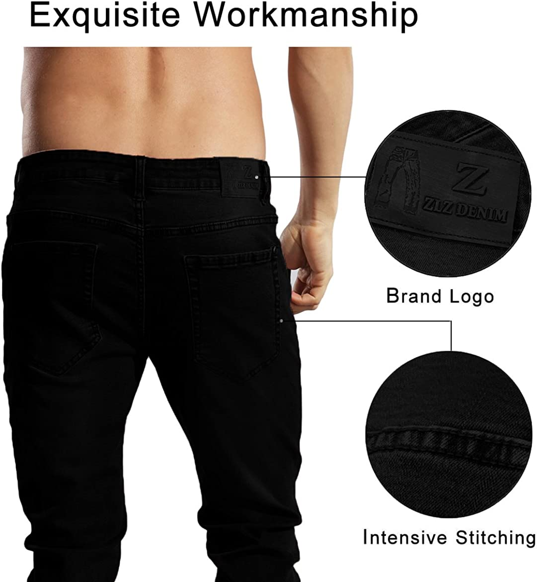 Mens Younger-Looking Fashionable Colorful Super Comfy Stretch Skinny Fit Denim Jeans/… ZLZ Slim Fit Jeans