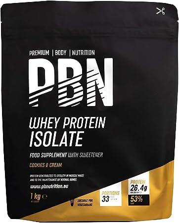 PBN - Premium Body Nutrition - Aislado de proteína de suero de leche en polvo (Whey-ISOLATE), 1 kg, sabor cookies & cream (33 porciones)