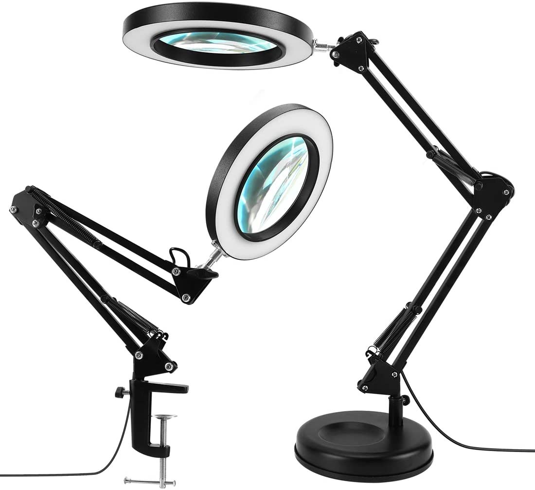 "LANCOSC 2-in-1 Magnifying Desk Lamp with Clamp, 3 Color Modes, Stepless Dimmable, 5-Diopter 4.1"" Real Glass, LED Magnifier with Light and Stand for Repair, Reading, Crafts, Close Works - Black"