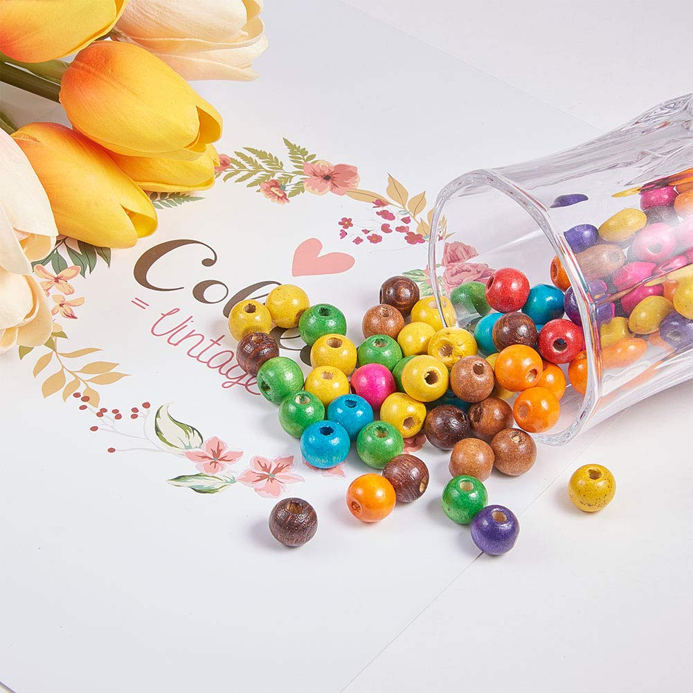 3mm 100PCS Mixed Round Wood Beads Dyed about 12mm in diameter 10.5mm thick hole