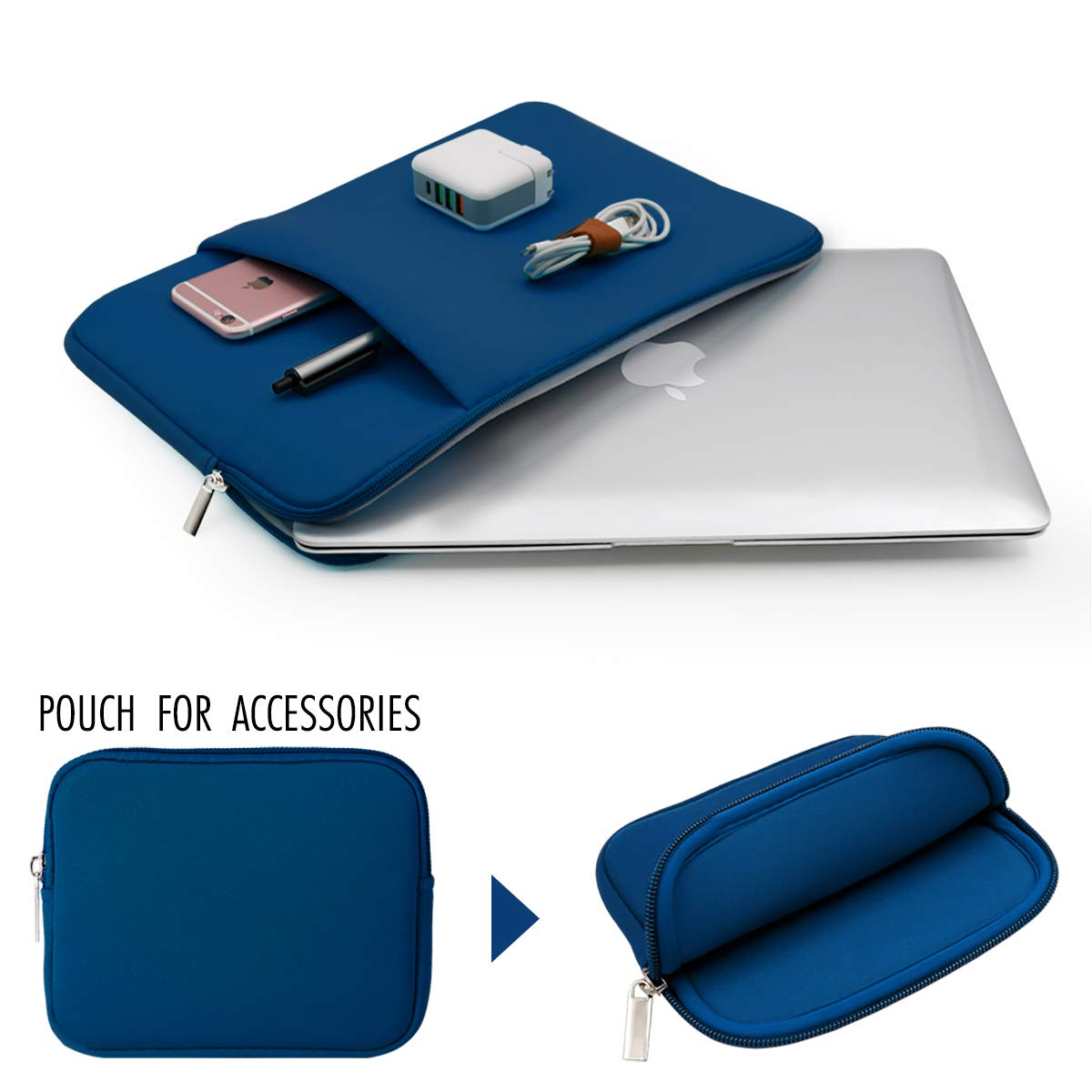 Navy Blue RAINYEAR 11-11.6 Inch Laptop Sleeve Protective Case Pocket Carrying Cover Bag with Accessories Pouch,Compatible 11.6 MacBook Air Notebook Ultrabook Chromebook for Dell HP ThinkPad Lenovo