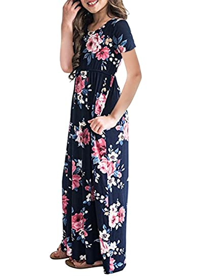 740ebc4dc1 STKAT Girl s Short Sleeve Floral Printed Pockets Casual Pleated Long Maxi  Dress at Amazon Women s Clothing store